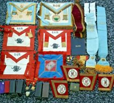 Collection Of Masonic Masons Regalia Inc Cuffs, Aprons, Jewel Boxes, Book Sashes