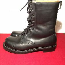 Vintage Continental West German Combat Black LEATHER MILITARY BOOTS Size 43