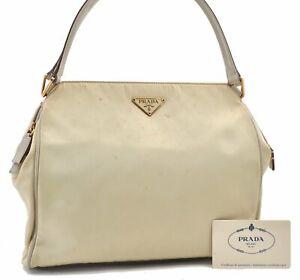 Authentic PRADA Nylon Leather Shoulder Hand Bag Ivory E0697