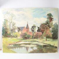 English School oil painting landscape church river impressionist 20th century