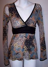 Sweet Pea Top M Floral Stretch Knit Layered Nylon Surplice Pullover Tunic Shirt