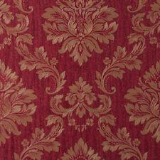 Exclusive Sparkle Glitter Red Gold Damask Heavy-Weight Vinyl Wallpaper (ES88107)