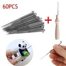 60 X Practical Needles Tool Of Felt Of Wool Pins + Wooden Handle