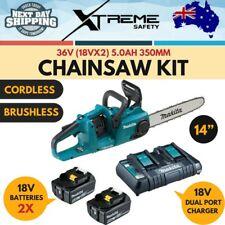 """New Makita 36V 5.0Ah 350mm 14"""" Cordless 18V x 2 Battery Brushless Chainsaw Kit"""