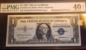 $1 ERROR NOTE -1957 Silver Certificate - MISMATCHED SERIAL NUMBER - PMG 40 EPQ