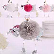 Mode Einhorn Keychain Schlüsselring Handtaschen Pelz Beutel hängendes  Geschenk~
