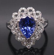 SOLID 18K WHITE GOLD NATURAL VIOLET BLUE TANZANITE ENGAGEMENT DIAMOND RING
