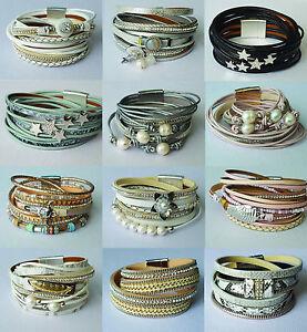Wickelarmband mit Strassnieten Perlen Magnetverschluss Armband Damen