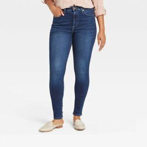 Women's High-Rise Fleece Lined Skinny Ankle Jeans Universal Thread Blue Dusk 00
