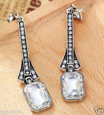 New Woman Statement clear crystal Rhinestone long Ear Studs hoop earrings 985