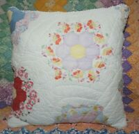 Vintage Grandmother's Flower Garden Farmhouse Feedsack Quilt Throw Pillow B