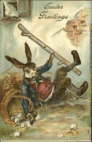 ~Handsome Dressed Rabbit Slips with Eggs~1910~Antique Easter Postcard-p214