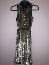 H&M Black & Gold Sequinced Backless Party Dress Size 2 NWT $99