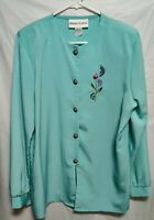 VINTAGE BRENDA GOODE Baby Blue Long Sleeve Blouse Embroidery Size M