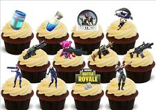 Fortnite 12 Party Pack Mix A - Edible Cake Toppers Decorations Battle Royale Gun