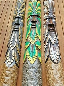 Green man of forest Hand carved painted log wood carving garden ornament 100cm