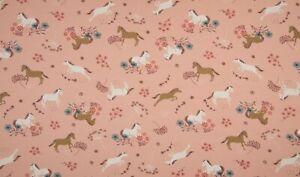 Baumwolle Jersey Stoff, Quality Textiles, Pferdemuster, Altrosa / Bunt, 147cm