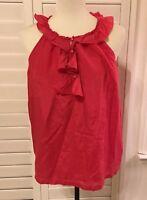 J. CREW Sleeveless Silk Blend Blouse, M, Lined 100% Silk, Ruffled Detail,VGUC