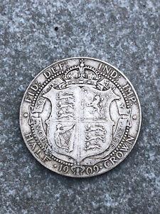 OLD EDWARD VII 1909 SILVER HALF CROWN COIN