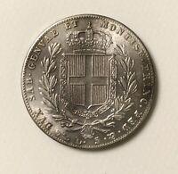 Sardinia 5 Lira 1842 Charles Albert Kingdom Of Sardinia EF