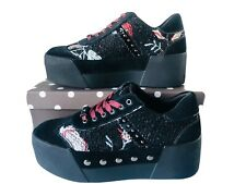 Liu Jo scarpe donna sneakers con plateau alta N 38 nero pelle tessile ricamato