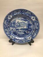Antique Staffordshire Mier Blue Transferware COW Farm Water Wheel Plate c1850
