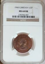 GREAT BRITAIN 1960 HALF PENNY NGC MS 64 RB
