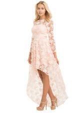 Chi Chi London Pink Floral Print Dip Hem Dress Size 14 BNWT