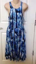 FELICITY & COCO Women's Dress Kaley Fit & Flare Midi Blue White  Size S New