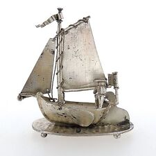 Antique Dutch Miniature Solid Silver China Trade Sailboat Signed J. Verhoogt Sl