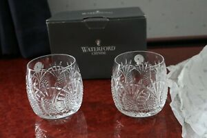 """2 Waterford Crystal """"Seahorse"""" Tumblers Pristine + Labels + Box + Tissue 3.1/2"""""""