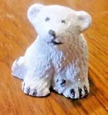 "Fairy Garden Miniature White Glittery ""BABY POLAR BEAR CUB""  Resin  NEW"