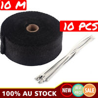 EXHAUST HEAT 10M X 50MM WRAP + 10 STAINLESS STEEL CABLE TIES se