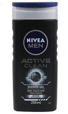 Nivea Men Active Clean Shower Gel Body Wash (250 ml) - Free Shipping