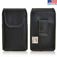 iPhone 4S Leather cell phone Vertical holster Case Black Belt Clip Fits Otterbox