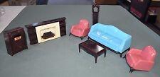 Vintage 1950s -1960s A Plasco Toy, Dollhouse Living Room Furniture Set (7 pcs) B