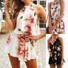Women Floral Print Chiffon Playsuit Beach Halter Sleeveless Rompers Jumpsuit h8
