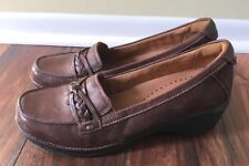 CLARKS UNSTRUCTURED Brown Leather Loafer Moc WOMENS 9 M Shoes Slip On EUC