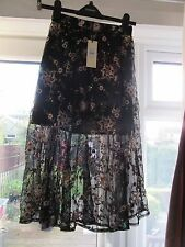 BNWT £65 UK 4 TopShop Midi Skirt Black Embroidered Sheer Mesh Net Floral Beads
