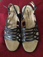 Softspots Woman's Black Strap Sandals Size 6.5 Medium Retail $79.99