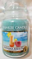 Yankee Candle BAHAMA BREEZE Large Jar 22 Oz Blue Housewarmer UK Label Wax Fruit