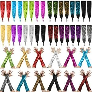 1 Pair Long Gloves Fingerless Gloves Elbow Shimmery Metallic/Fish Scales Dance