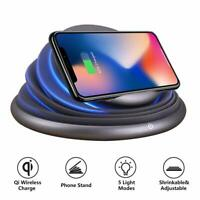 Multi-color LED Light Changing Mood Qi Charging Night Lamp Table Decor Bedside