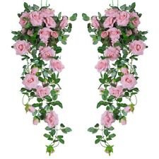 2 X 8Ft Artificial Rose Garland Silk Flower Vine Ivy Wedding Garden Party Décor