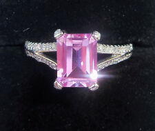 9ct White Gold Baguette Pink Sapphire & Diamond Ring, Size P