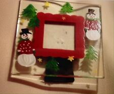 MERRY CHRISTMAS Glass Photo Picture Frame - For Your Holiday Christmad Decor