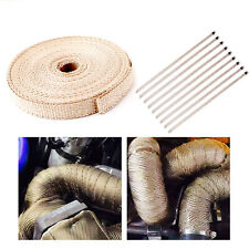 "4/5"" 50Ft Roll Fiberglass Exhaust Header Pipe Heat Wrap Tape Khaki +10 Ties Kit/"