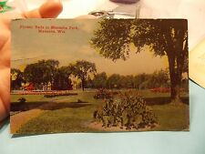 FLOWER BED IN PARK  MENASHA  WIS WISCONSIN POST CARD POSTCARD