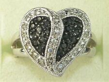 Sterling Silver Black Spinel White Zircon Heart Ring-Size 8.25