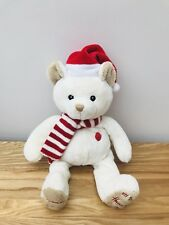 10d2694e6ae MY FIRST CHRISTMAS HARRODS TEDDY 1ST RED HAT SCARF BABY SOFT TOY CREAM BEAR  2014